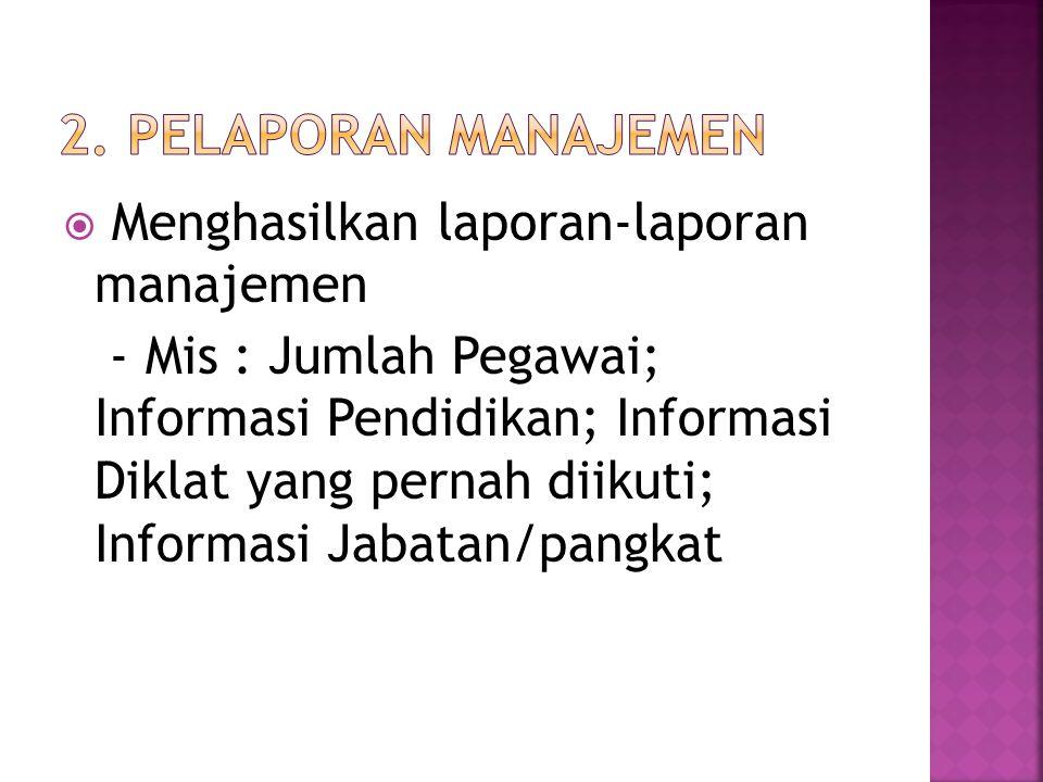 2. Pelaporan Manajemen Menghasilkan laporan-laporan manajemen