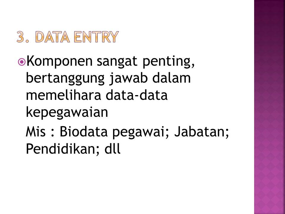 3. Data entry Komponen sangat penting, bertanggung jawab dalam memelihara data-data kepegawaian.