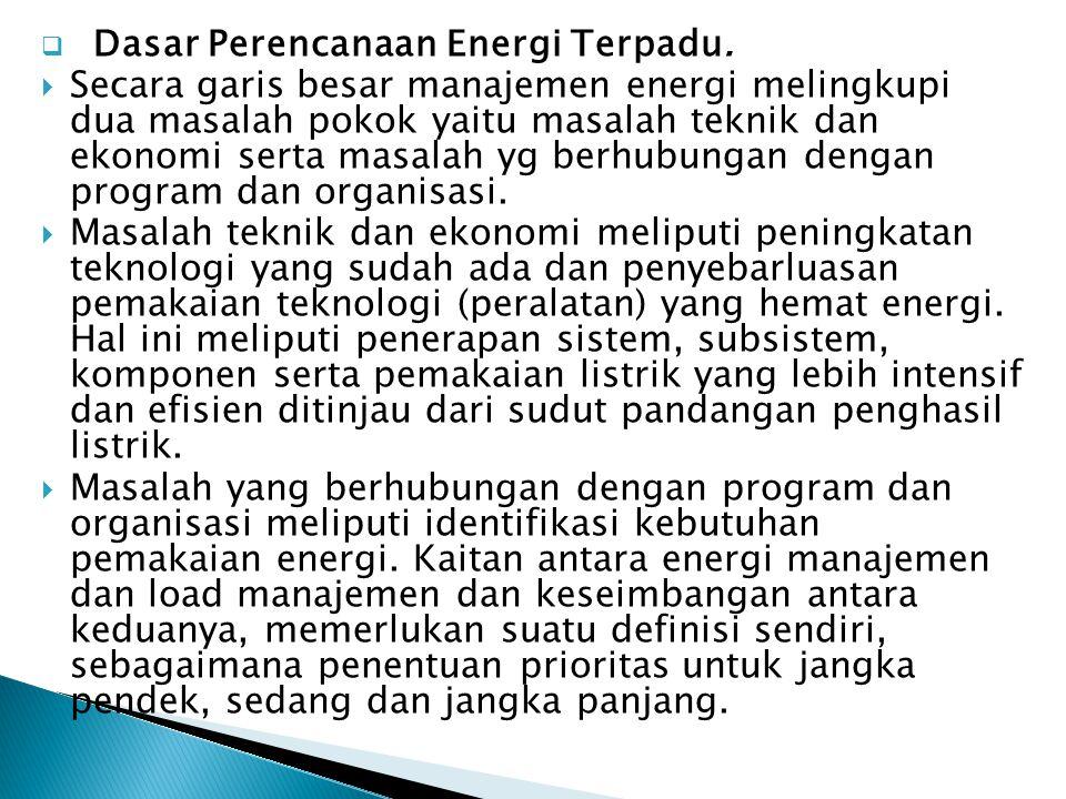Dasar Perencanaan Energi Terpadu.