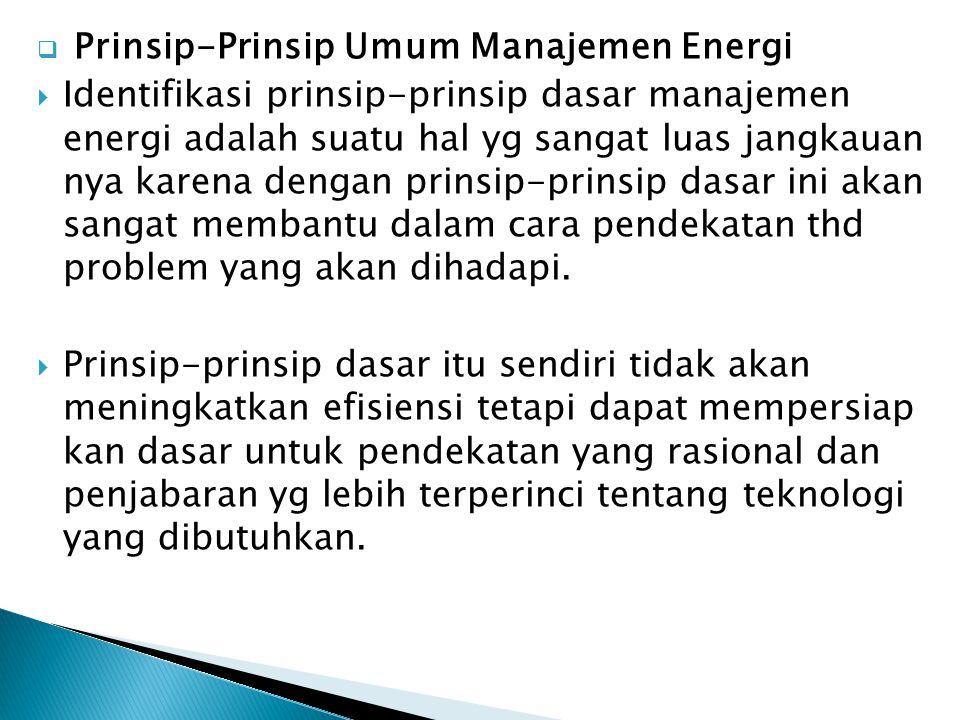 Prinsip-Prinsip Umum Manajemen Energi
