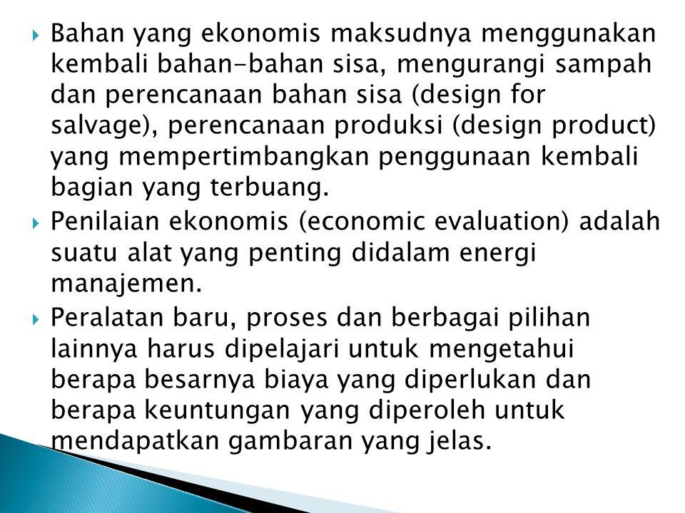 Bahan yang ekonomis maksudnya menggunakan kembali bahan-bahan sisa, mengurangi sampah dan perencanaan bahan sisa (design for salvage), perencanaan produksi (design product) yang mempertimbangkan penggunaan kembali bagian yang terbuang.
