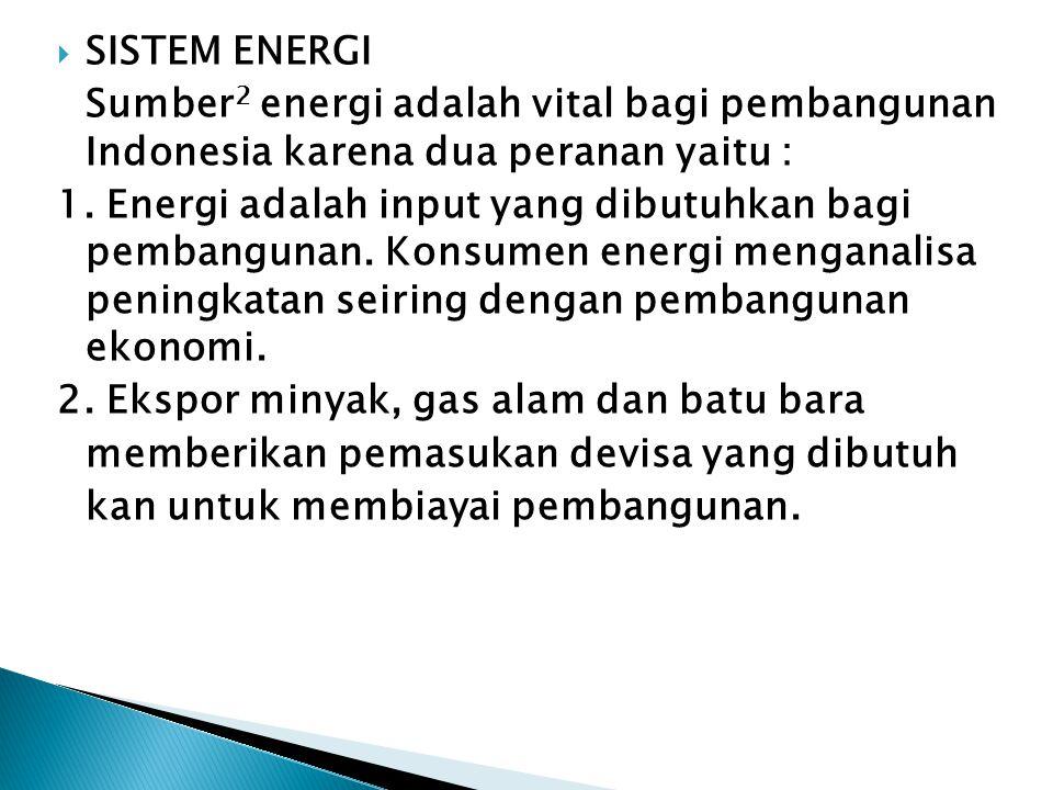 SISTEM ENERGI Sumber2 energi adalah vital bagi pembangunan Indonesia karena dua peranan yaitu :