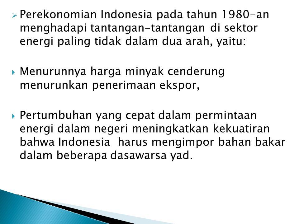 Perekonomian Indonesia pada tahun 1980-an menghadapi tantangan-tantangan di sektor energi paling tidak dalam dua arah, yaitu: