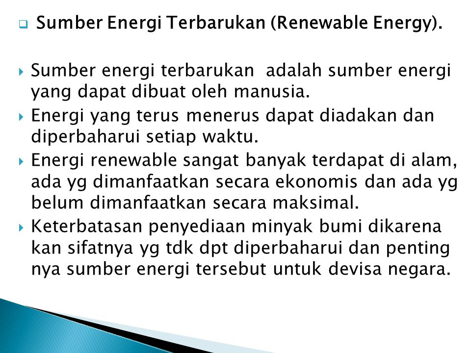 Sumber Energi Terbarukan (Renewable Energy).
