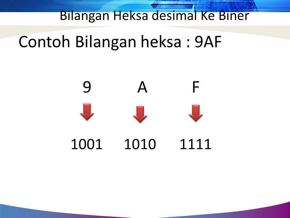 Contoh Bilangan heksa : 9AF