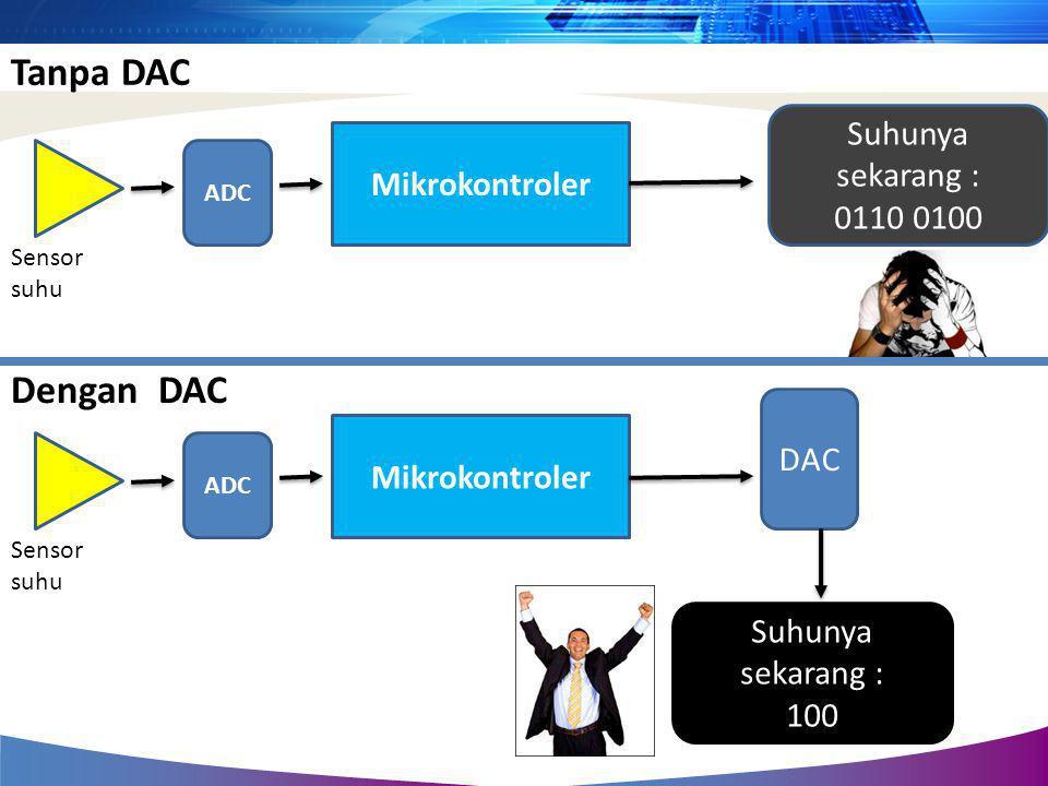 Tanpa DAC Dengan DAC Suhunya sekarang : Mikrokontroler 0110 0100 DAC