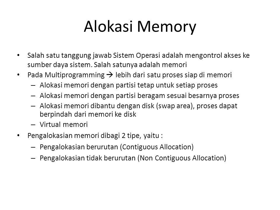 Alokasi Memory Salah satu tanggung jawab Sistem Operasi adalah mengontrol akses ke sumber daya sistem. Salah satunya adalah memori.