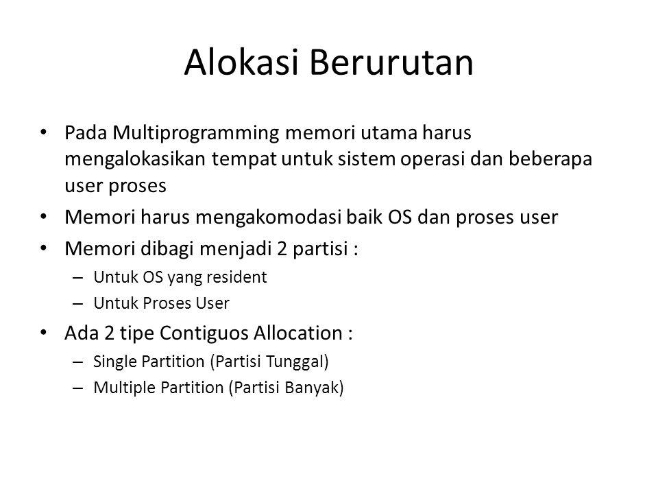 Alokasi Berurutan Pada Multiprogramming memori utama harus mengalokasikan tempat untuk sistem operasi dan beberapa user proses.
