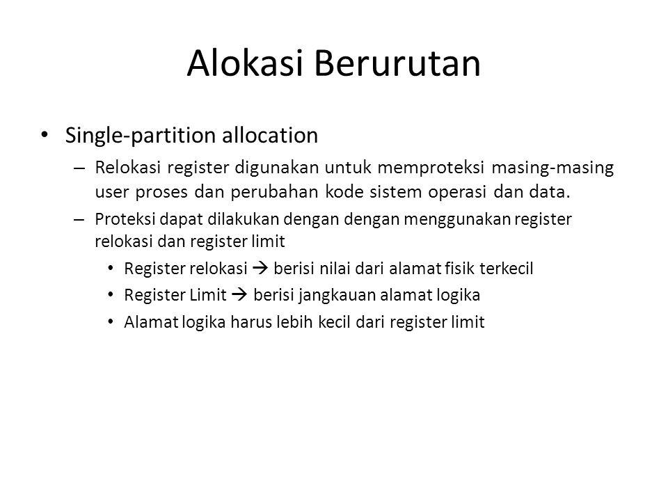 Alokasi Berurutan Single-partition allocation