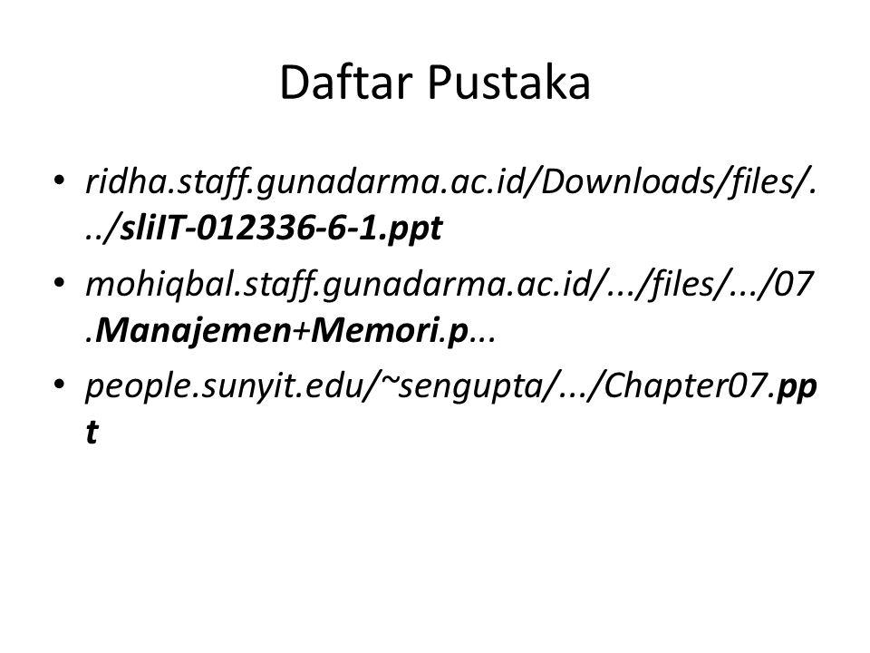 Daftar Pustaka ridha.staff.gunadarma.ac.id/Downloads/files/.../sliIT-012336-6-1.ppt.