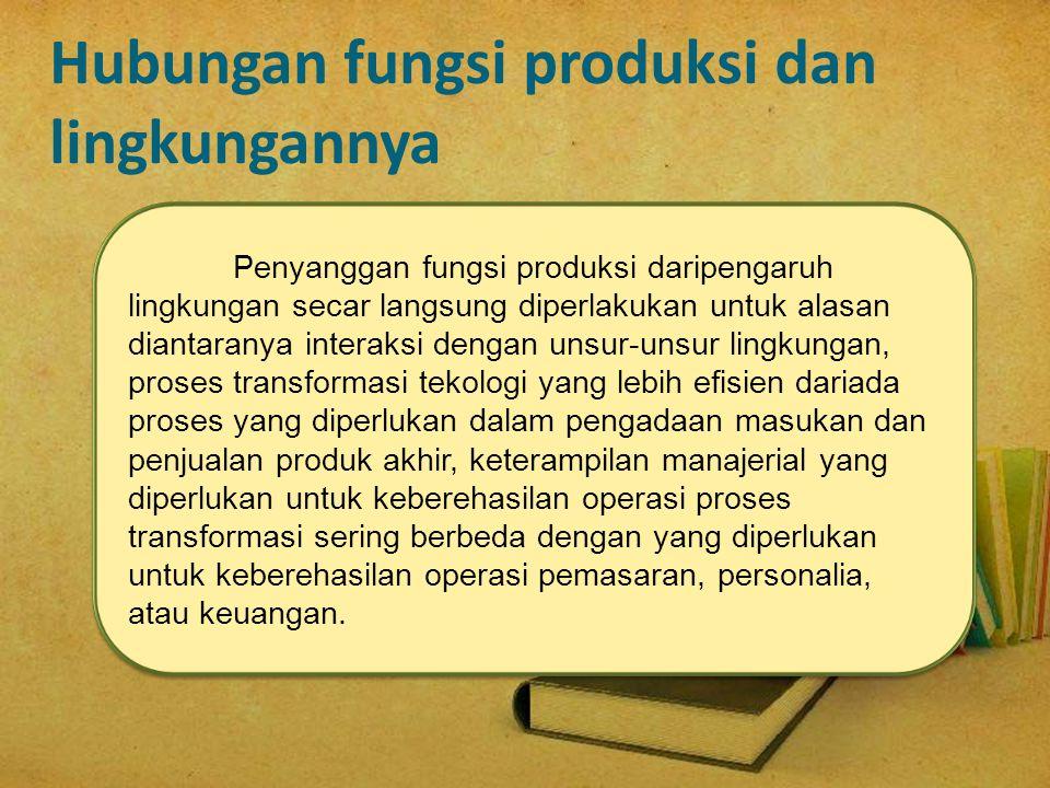 Hubungan fungsi produksi dan lingkungannya
