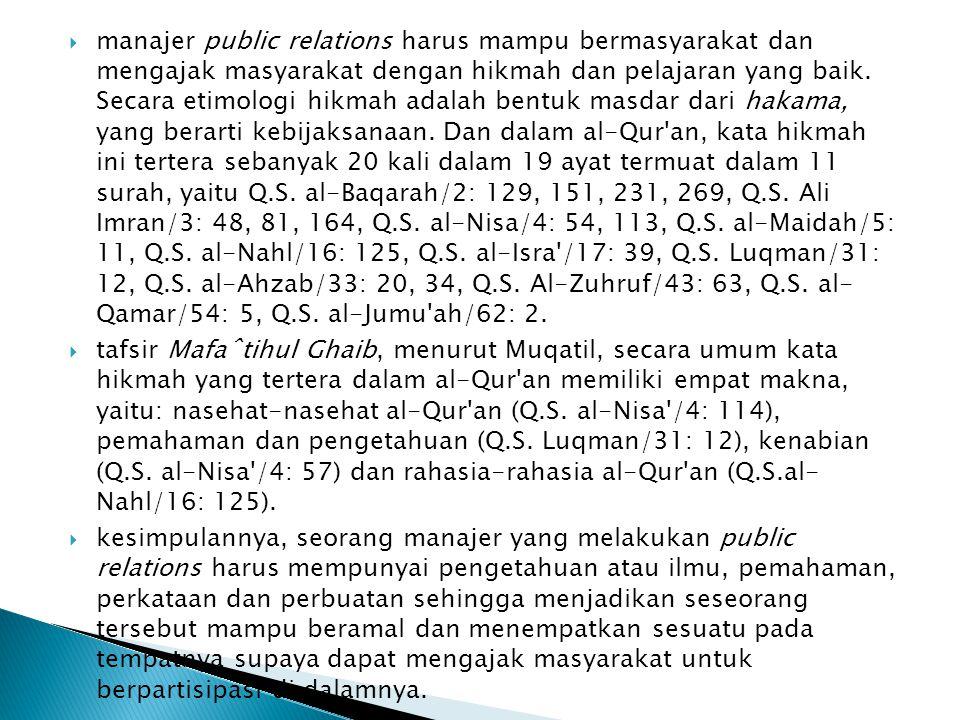 manajer public relations harus mampu bermasyarakat dan mengajak masyarakat dengan hikmah dan pelajaran yang baik. Secara etimologi hikmah adalah bentuk masdar dari hakama, yang berarti kebijaksanaan. Dan dalam al-Qur an, kata hikmah ini tertera sebanyak 20 kali dalam 19 ayat termuat dalam 11 surah, yaitu Q.S. al-Baqarah/2: 129, 151, 231, 269, Q.S. Ali Imran/3: 48, 81, 164, Q.S. al-Nisa/4: 54, 113, Q.S. al-Maidah/5: 11, Q.S. al-Nahl/16: 125, Q.S. al-Isra /17: 39, Q.S. Luqman/31: 12, Q.S. al-Ahzab/33: 20, 34, Q.S. Al-Zuhruf/43: 63, Q.S. al- Qamar/54: 5, Q.S. al-Jumu ah/62: 2.