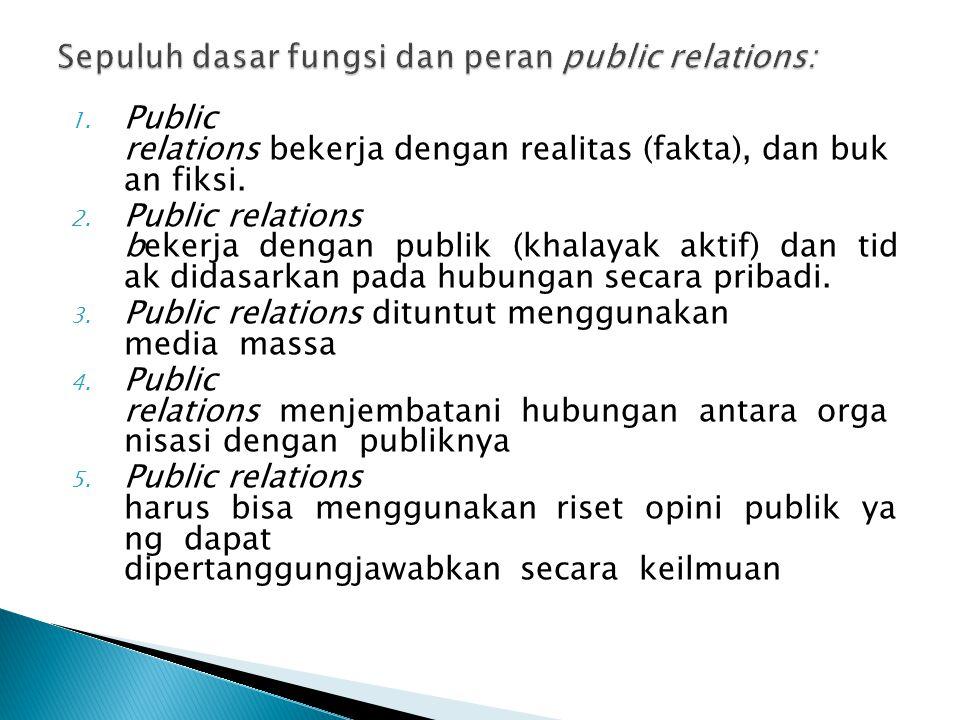 Sepuluh dasar fungsi dan peran public relations: