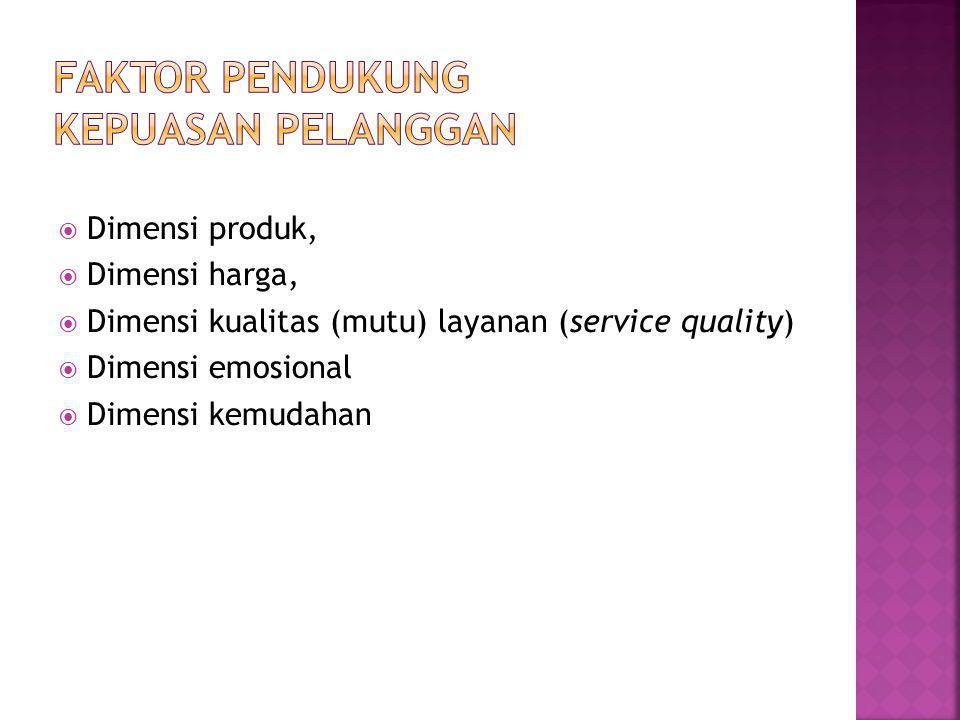 Faktor pendukung kepuasan pelanggan
