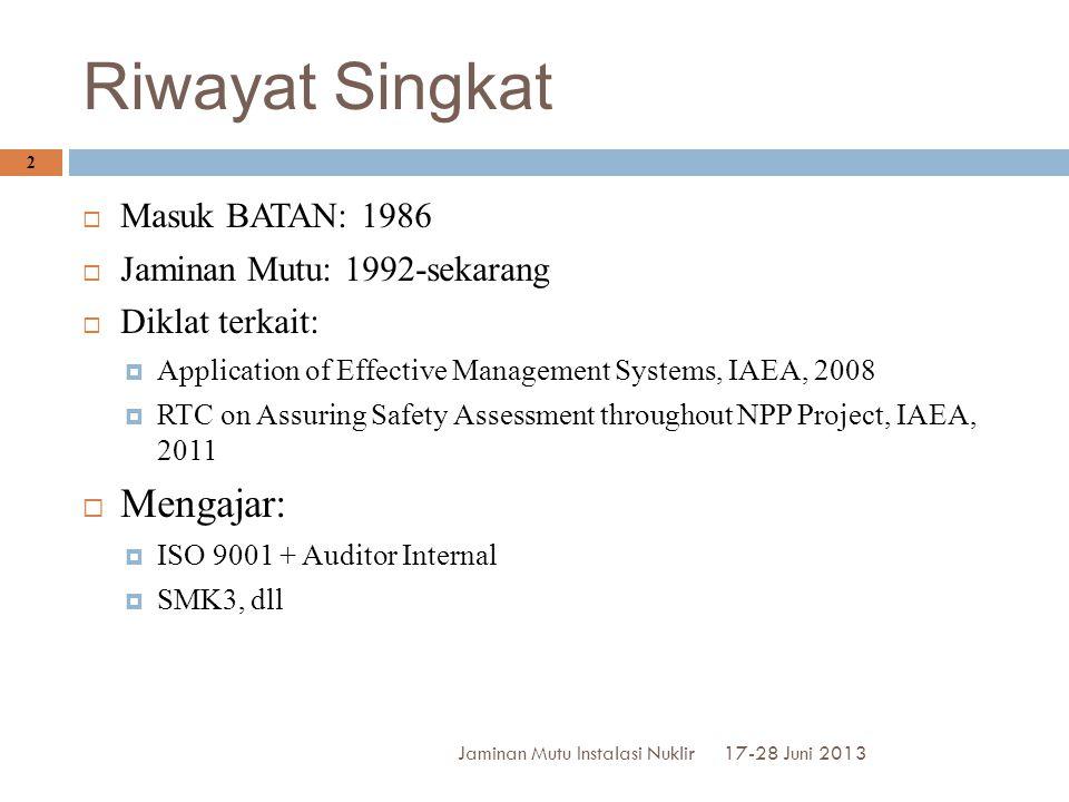 Riwayat Singkat Mengajar: Masuk BATAN: 1986