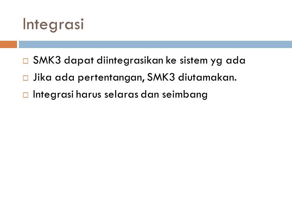 Integrasi SMK3 dapat diintegrasikan ke sistem yg ada