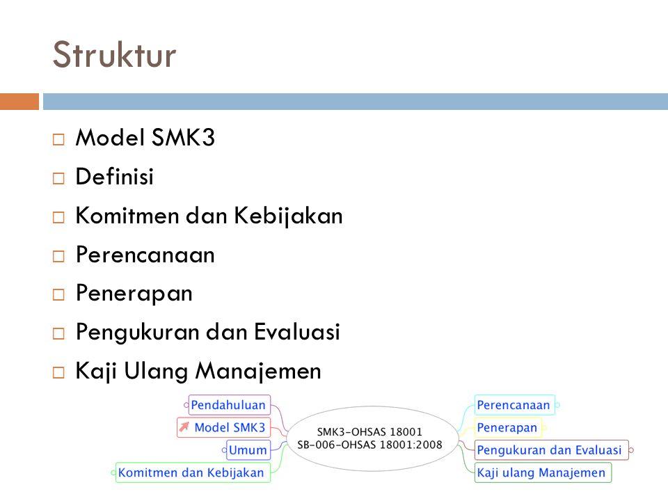 Struktur Model SMK3 Definisi Komitmen dan Kebijakan Perencanaan