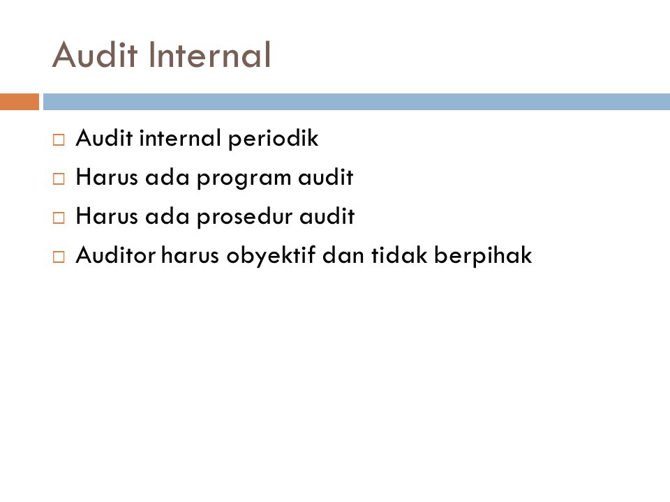 Audit Internal Audit internal periodik Harus ada program audit