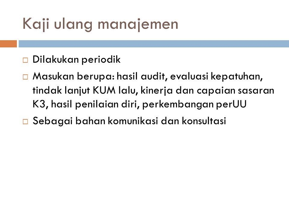 Kaji ulang manajemen Dilakukan periodik
