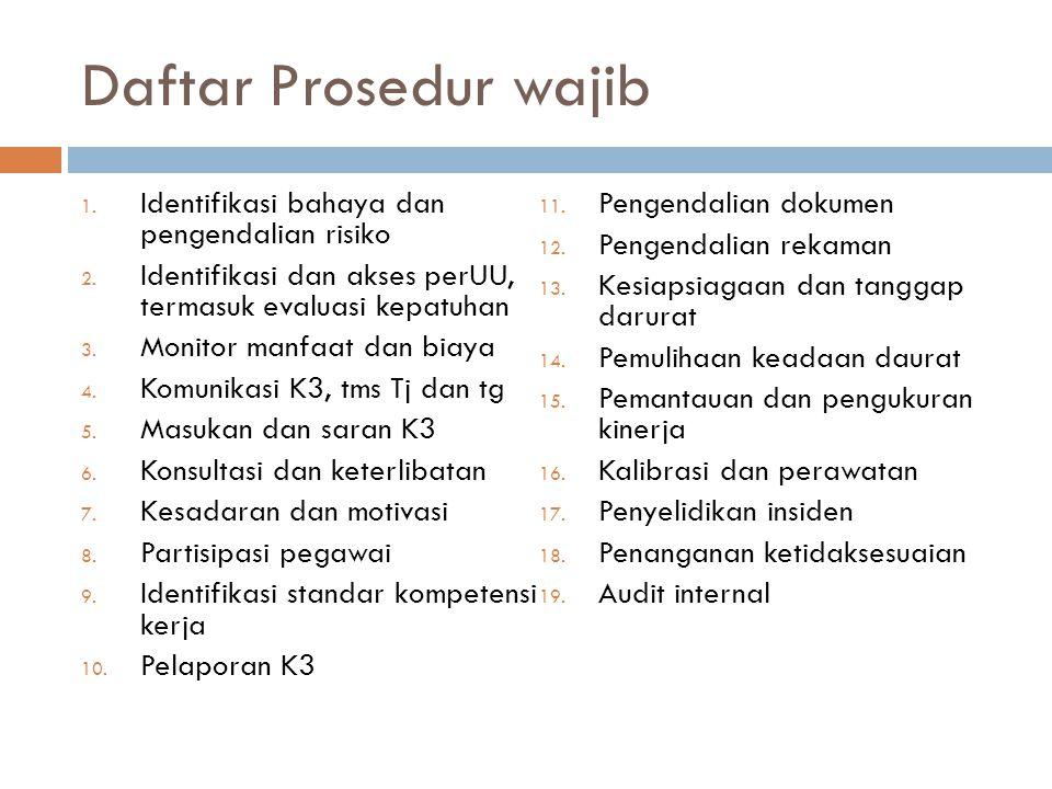 Daftar Prosedur wajib Identifikasi bahaya dan pengendalian risiko