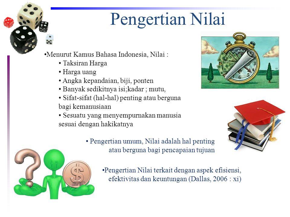 Pengertian Nilai Menurut Kamus Bahasa Indonesia, Nilai :