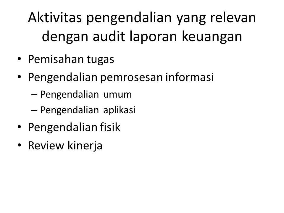 Aktivitas pengendalian yang relevan dengan audit laporan keuangan