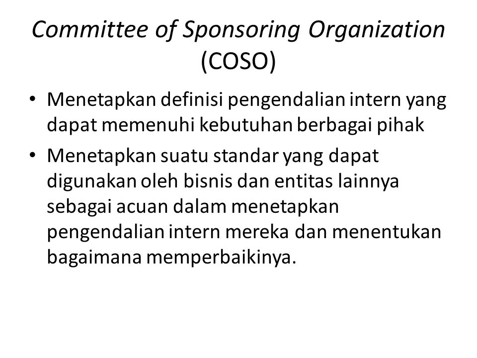Committee of Sponsoring Organization (COSO)
