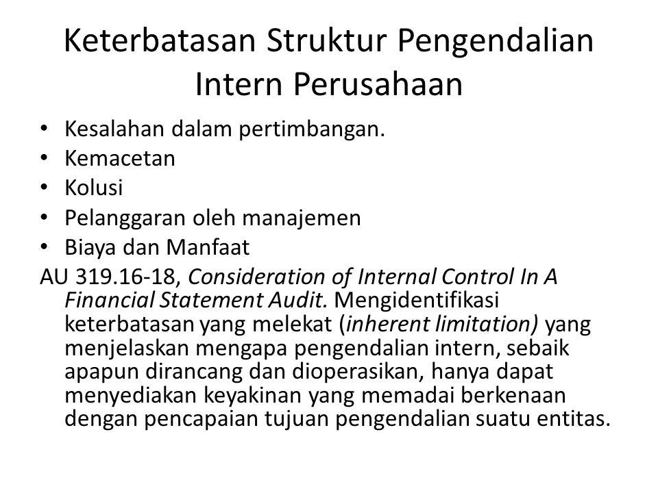 Keterbatasan Struktur Pengendalian Intern Perusahaan