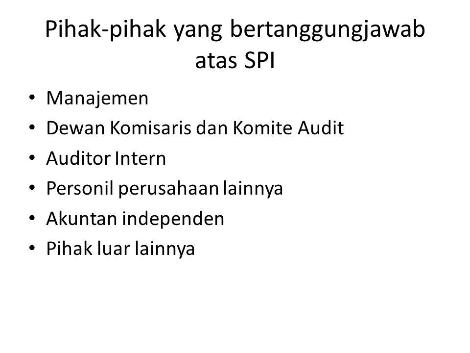 Pihak-pihak yang bertanggungjawab atas SPI