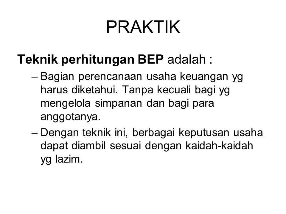 PRAKTIK Teknik perhitungan BEP adalah :