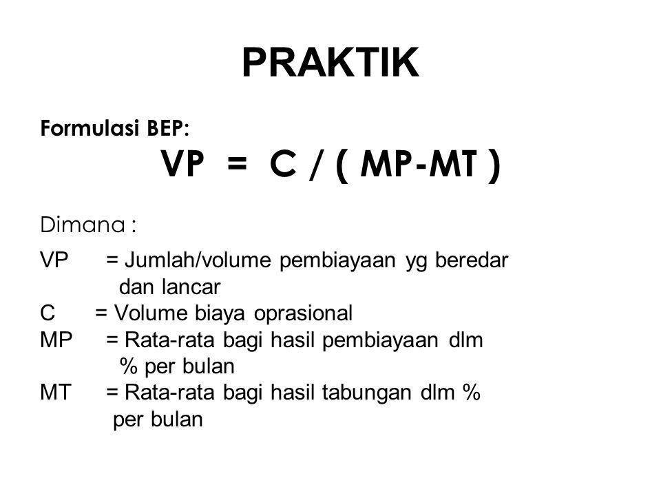 PRAKTIK VP = C / ( MP-MT ) Formulasi BEP: Dimana :