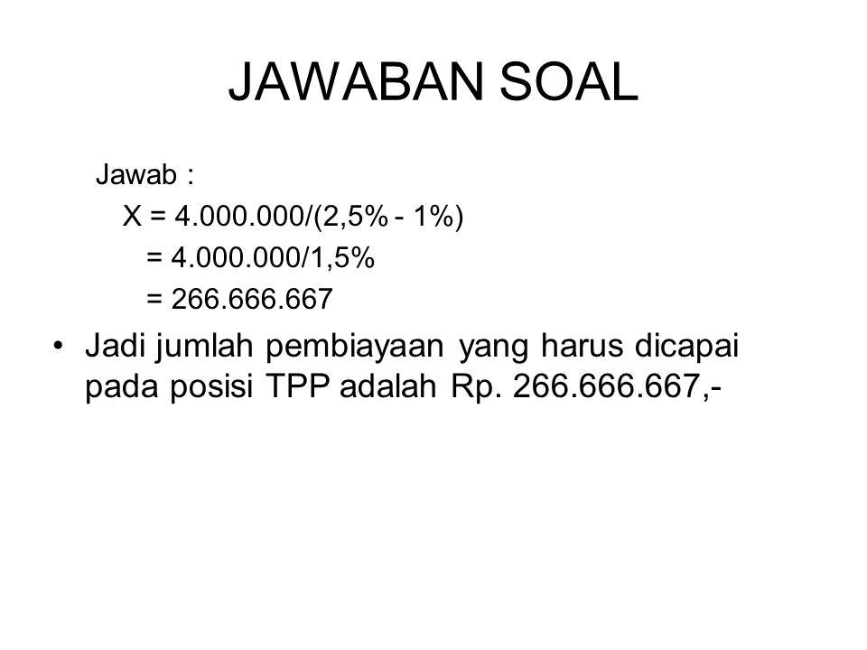 JAWABAN SOAL Jawab : X = 4.000.000/(2,5% - 1%) = 4.000.000/1,5% = 266.666.667.