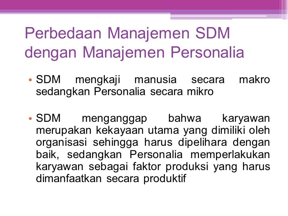 Perbedaan Manajemen SDM dengan Manajemen Personalia