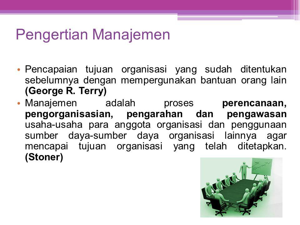 Pengertian Manajemen Pencapaian tujuan organisasi yang sudah ditentukan sebelumnya dengan mempergunakan bantuan orang lain (George R. Terry)