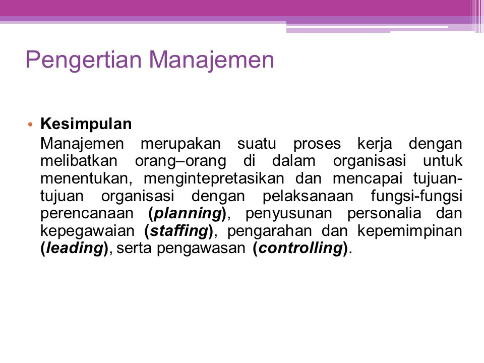 Pengertian Manajemen Kesimpulan