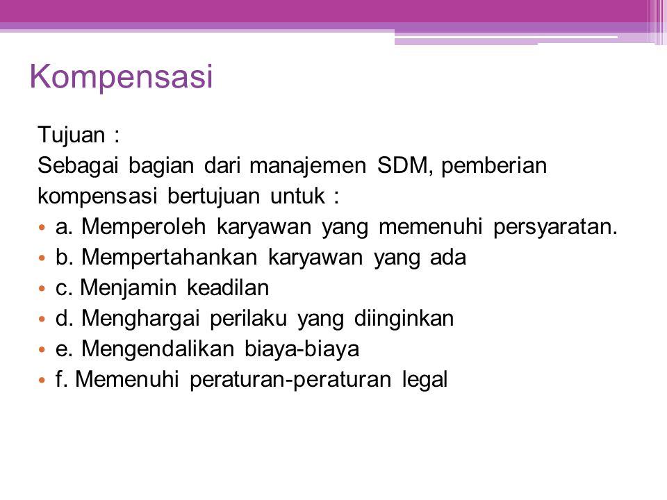 Kompensasi Tujuan : Sebagai bagian dari manajemen SDM, pemberian