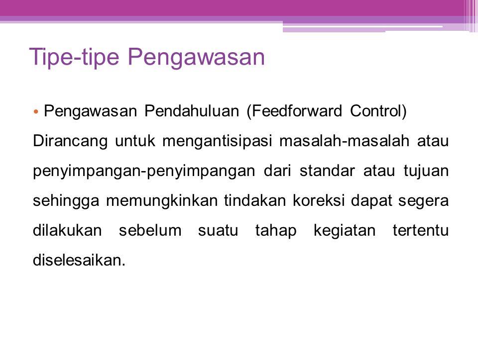 Tipe-tipe Pengawasan Pengawasan Pendahuluan (Feedforward Control)