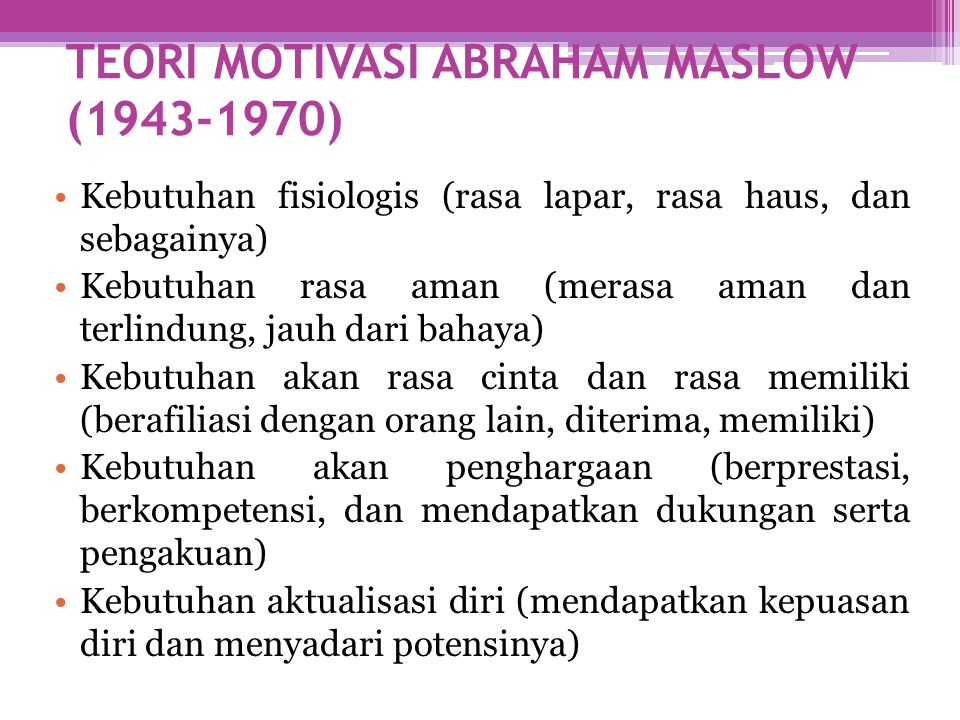 TEORI MOTIVASI ABRAHAM MASLOW (1943-1970)