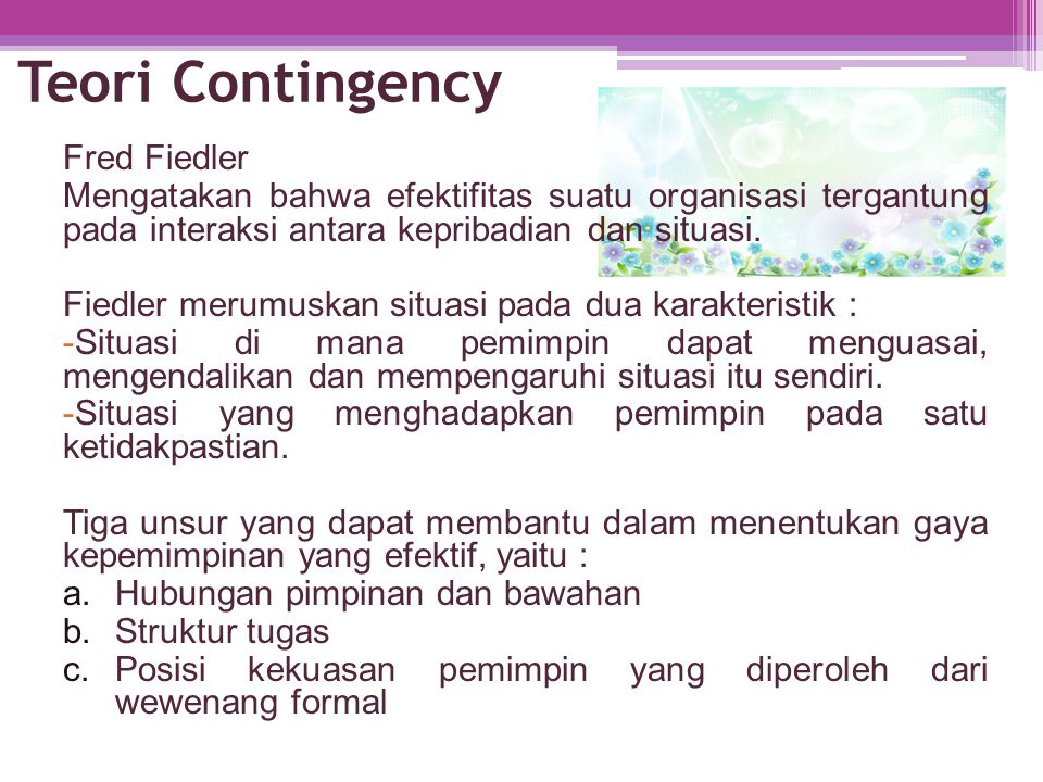 Teori Contingency Fred Fiedler
