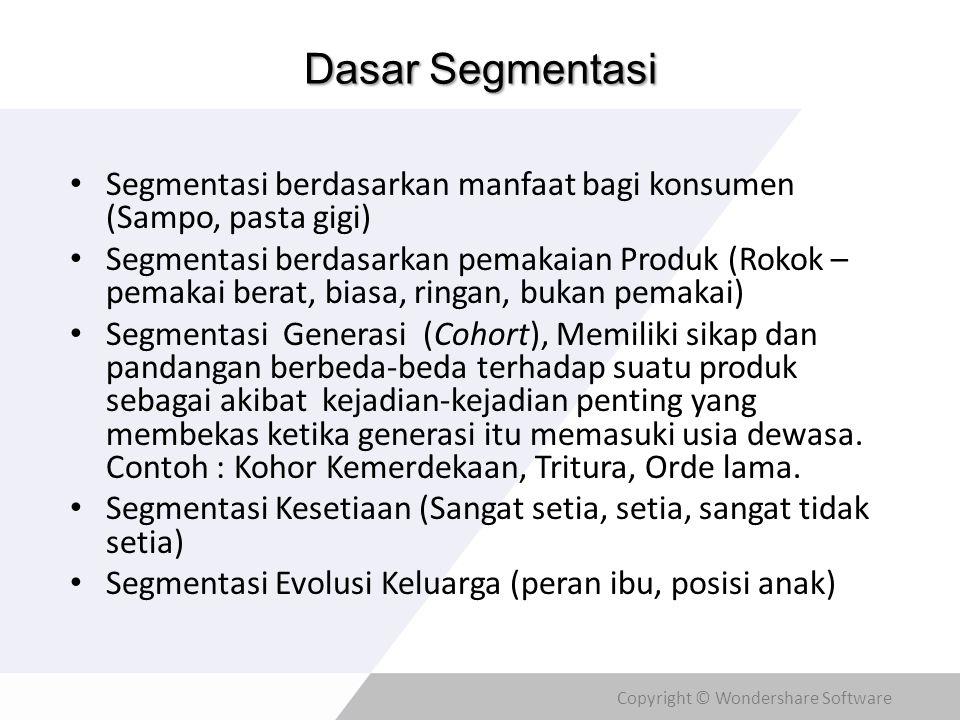 Dasar Segmentasi Segmentasi berdasarkan manfaat bagi konsumen (Sampo, pasta gigi)