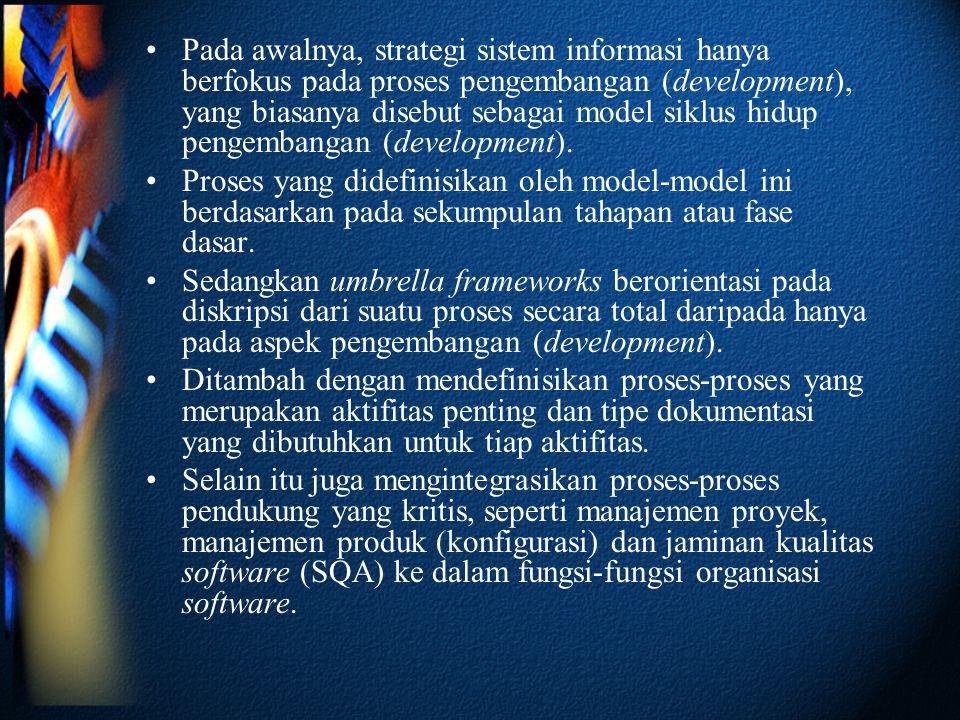 Pada awalnya, strategi sistem informasi hanya berfokus pada proses pengembangan (development), yang biasanya disebut sebagai model siklus hidup pengembangan (development).