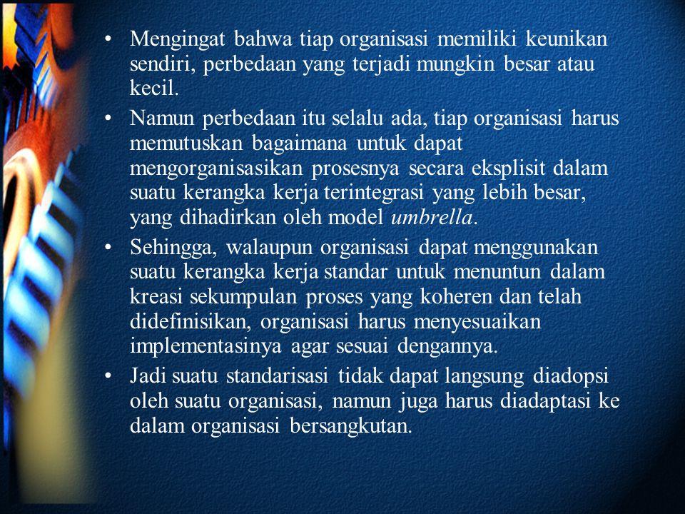 Mengingat bahwa tiap organisasi memiliki keunikan sendiri, perbedaan yang terjadi mungkin besar atau kecil.