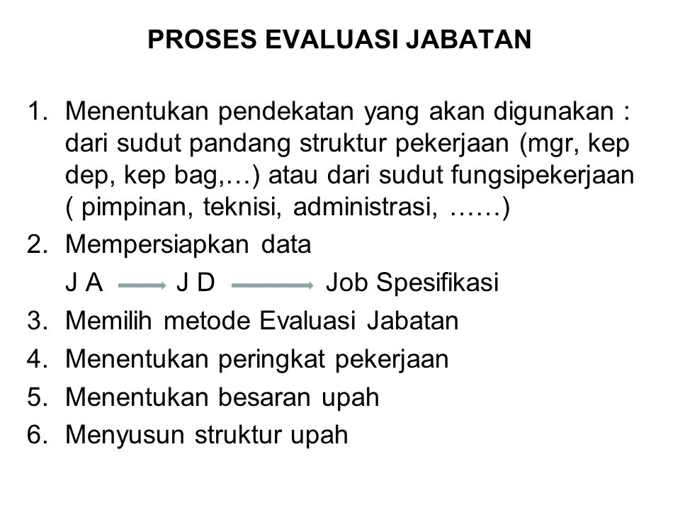 PROSES EVALUASI JABATAN
