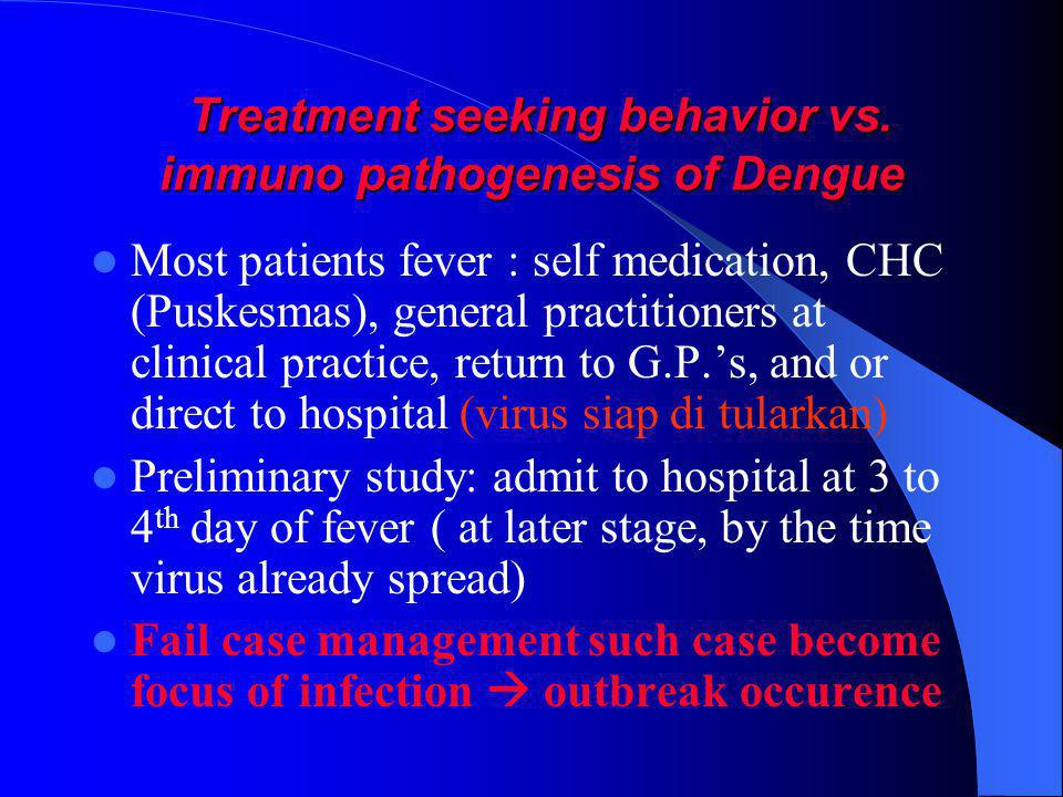Treatment seeking behavior vs. immuno pathogenesis of Dengue