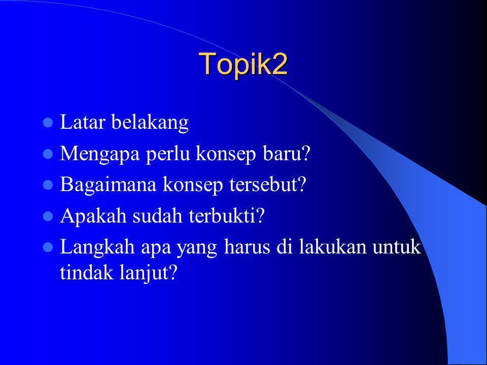 Topik2 Latar belakang Mengapa perlu konsep baru
