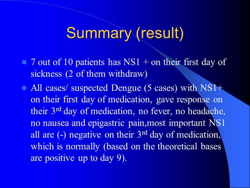 Summary (result) 7 out of 10 patients has NS1 + on their first day of sickness (2 of them withdraw)