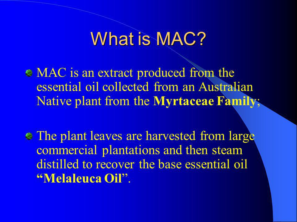 What is MAC MAC is an extract produced from the essential oil collected from an Australian Native plant from the Myrtaceae Family;