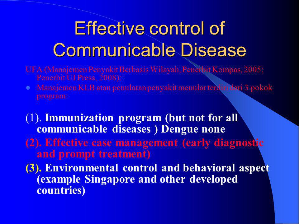 Effective control of Communicable Disease