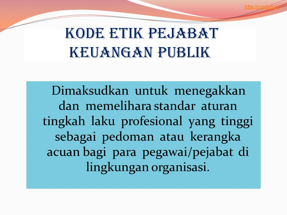 Kode Etik Pejabat Keuangan Publik