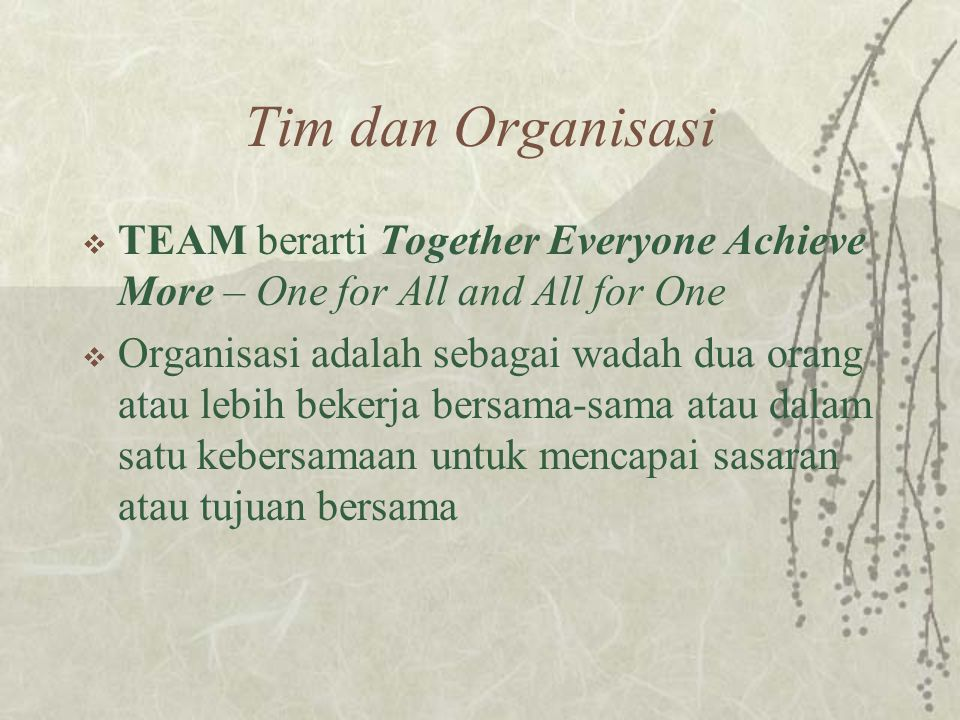 Tim dan Organisasi TEAM berarti Together Everyone Achieve More – One for All and All for One.